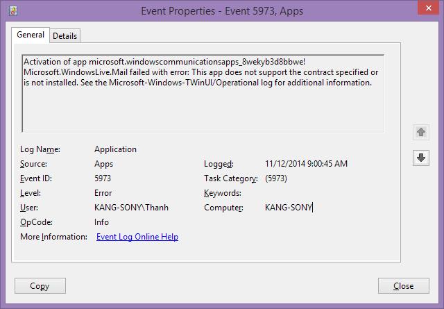 windows 8 app crash on open error log